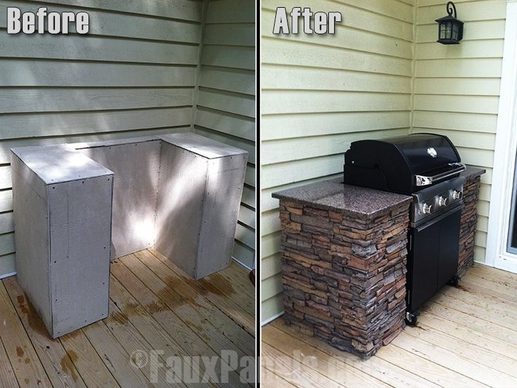 Exterior faux stone sheets cover this frame, creating an amazing outdoor grilling station.