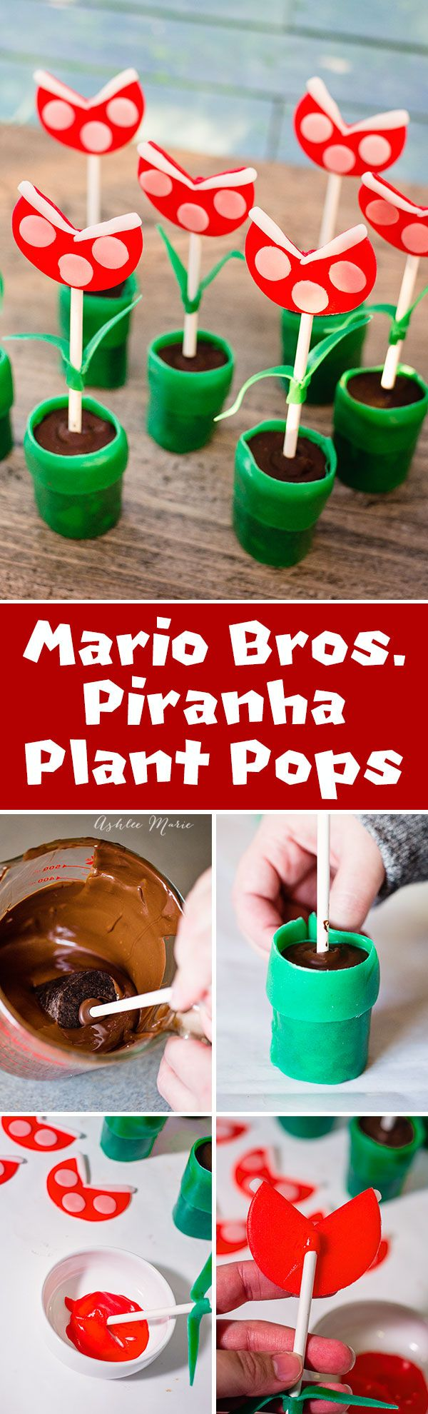 using oreo cookie pops or cake pops as a base and Airheads candy for decorating create these mario tubes and piranha plants #airheadscrafts @airheadscandy
