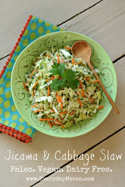 Jicama Slaw (Vegan, Paleo, Dairy Free): Do you buy a lot of jicama? I find we go through phases with it. It is such a perfect summer vegetable – crunchy, water-rich and very versatile. It's also pretty inexpensive which is always a huge plus!