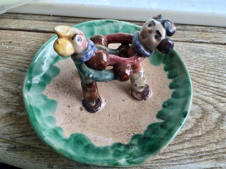 Vtg 1960's signed Italian Folk Art Pottery Boys Boxing ashtray Hand Made Odd