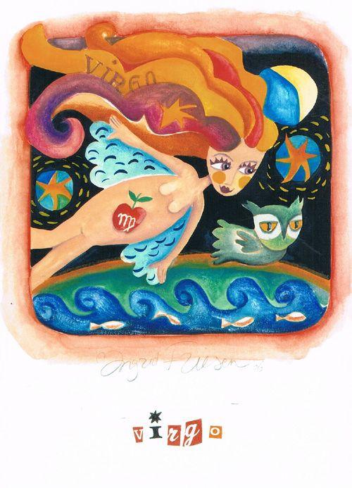 Dubbele kaart met enveloppe, afm. 11 br x 15 cm hg, www.postersquare.com  Titel: Maagd  Beeld: Ingrid Friesen – Illustrator    Het sterrenbeeld Maagd is van toepassing op mensen die geboren zijn van 23 augustus tot en met 22   september. De Latijnse benaming voor de horoscoop van de Maagd is Virgo. De Maagd is een   efficiënt en perfectionistisch teken uit de dierenriem.
