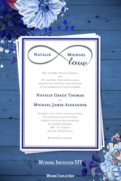 181 best wedding invitations diy printable templates images on infinity love wedding invitation royal blue gray stopboris Gallery