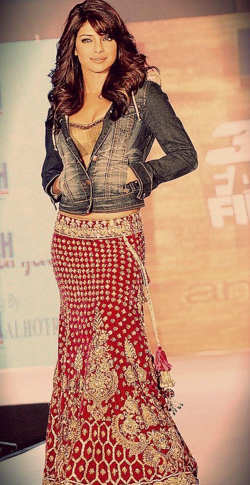 Priyanka Chopra - denim with lengha wow