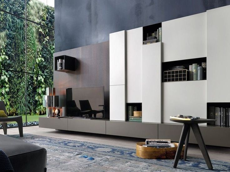 Mueble modular de pared composable de madera con soporte para tv SINTESI by Poliform diseño Carlo Colombo