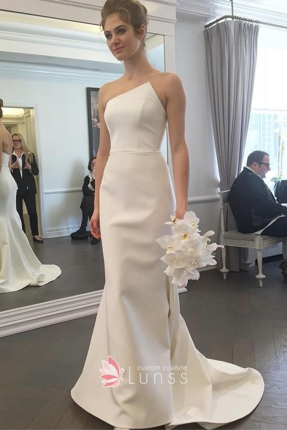 3e6cb3042d Simple ivory satin mermaid wedding dress with sweep train. Asymmetrical  strapless neckline.