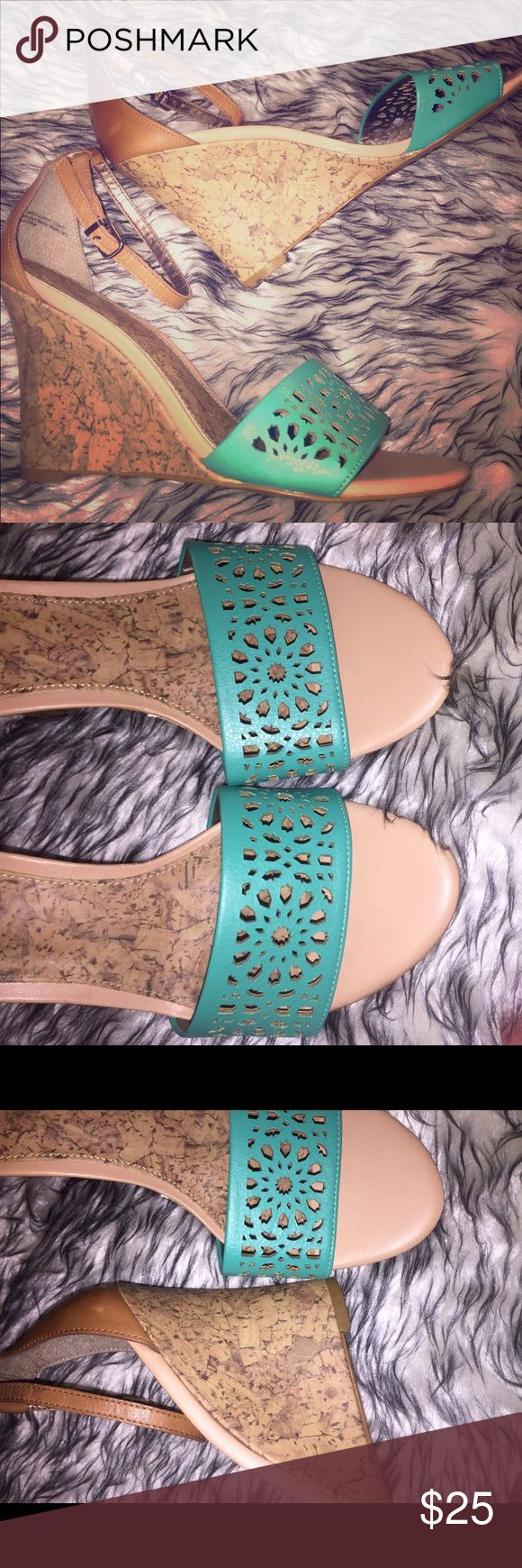 Turquoise wedges Chic Ann Taylor Loft wedge sandals. EUC. Turquoise and tan with a scalloped design and a smell wedge heel. Size 7m. Perfect for date night or paired with jeans.  Really feminine!    Tags: work wear , spring , bright , teal, wedges, Anne Taylor LOFT Shoes Wedges