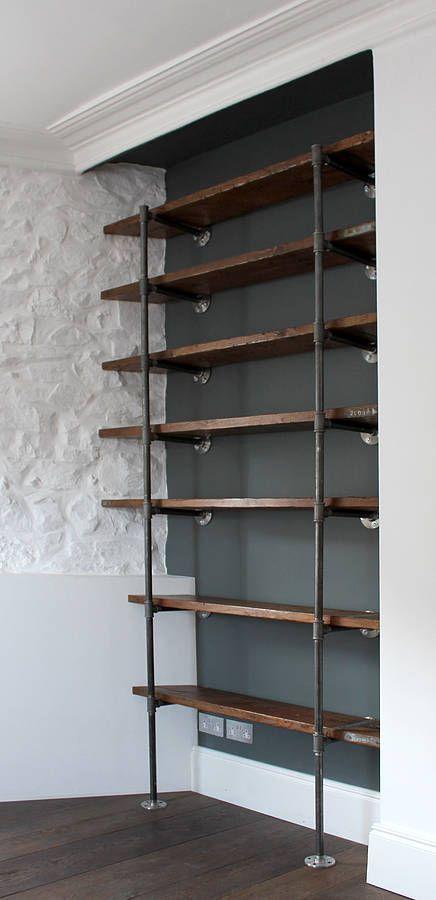 sebastian industrial vintage wooden shelves by inspirit | notonthehighstreet.com