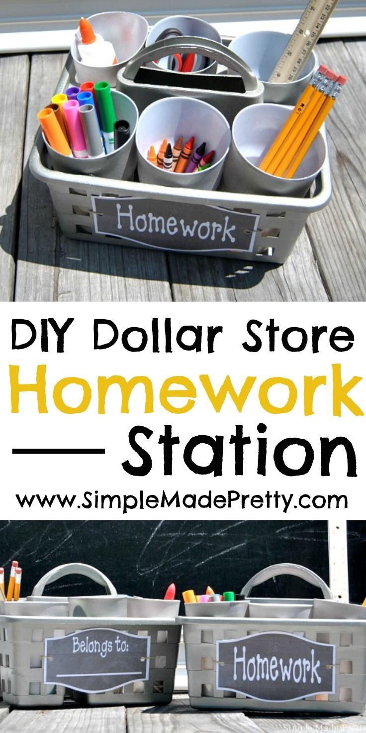 Get ready for a clutter-free school year with this simple Dollar Store portable homework station and our free printable label! Back to school, homework station, back to school DIY, back to school ideas