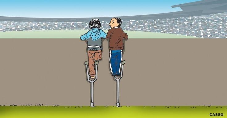 Um pequeno torcedor emprestou uma de suas muletas para um amigo também conseguir enxergar a despedida de Diego Milito do futebol, na partida entre Racing e Temperley, no Estádio El Cilindro, na Argentina. O ato, ocorrido no dia 21 de maio, é eternizado na charge do Casso