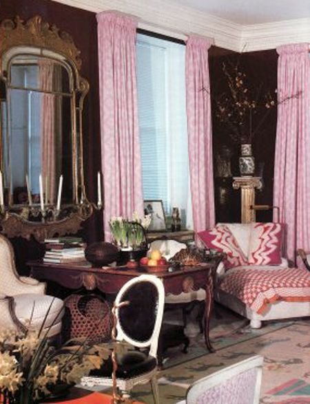 Michael Penney | House & Home pink drapes black walls. LOVE!