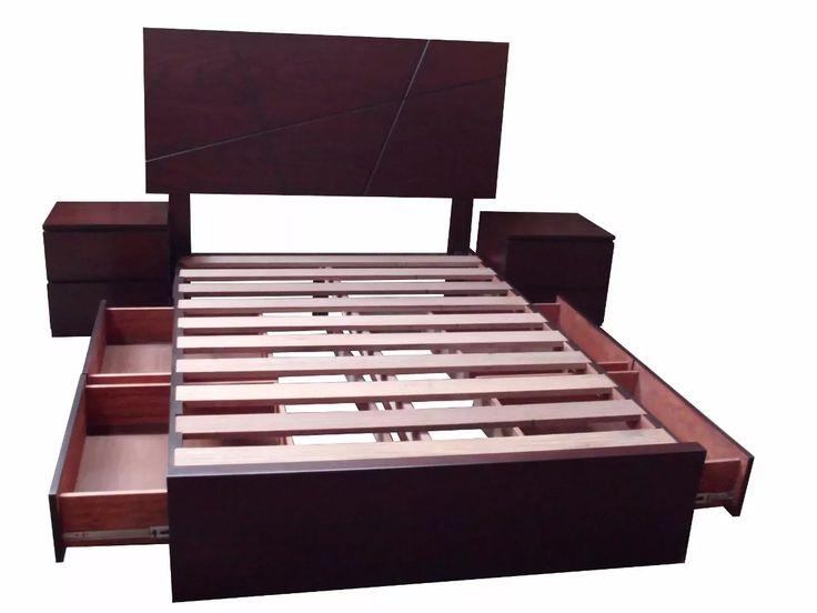 Cama de 2 plazas con cajones laterales en madera tornillo s 950 00 en mercado libre - Dos camas en una ...