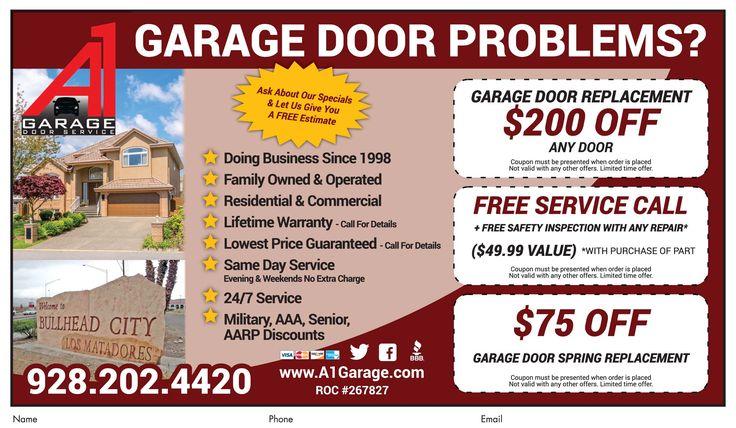 Get 200 Off Any Garage Door Replacement At A1 Garage Door Repair In Bhc Call Now For Deal Garage Door Replacement Garage Door Problems Garage Door Repair