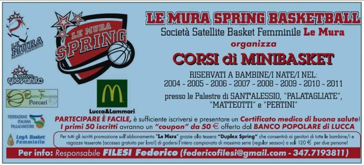 Corsi Minibasket Le Mura Spring Lucca