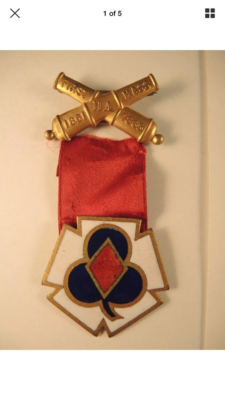 Post Civil War First Mass. Heavy Artillery Veterans Badge.  Featuring a combination 22nd, Second and Third Corps Badge.