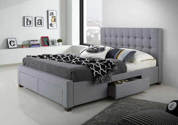 Alessandria Queen Storage Bed Frame - Grey | Beds Online