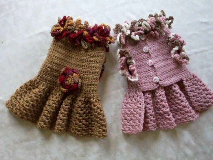 Crochet Pet Dog Cat Clothes Apparel Sweater Dress Coat s XS XXS Pink or Topaz | eBay
