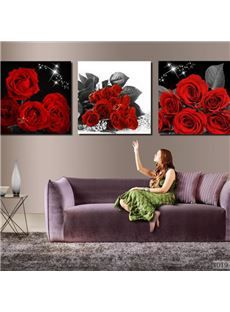 new arrival luxurious red roses blossoms print 3piece cross film wall art prints