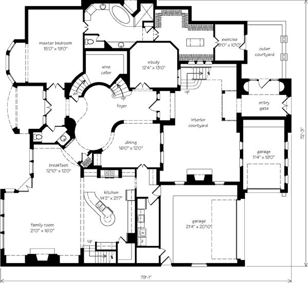 Courtyards  Full house and Spiral staircases on Pinterest