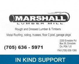 Marshall Lumber Mill - In Kind Sponsor 2015