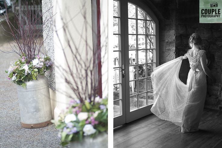 Designer wedding dress. Weddings at Ballymagarvey Village photographed by Couple Photography.
