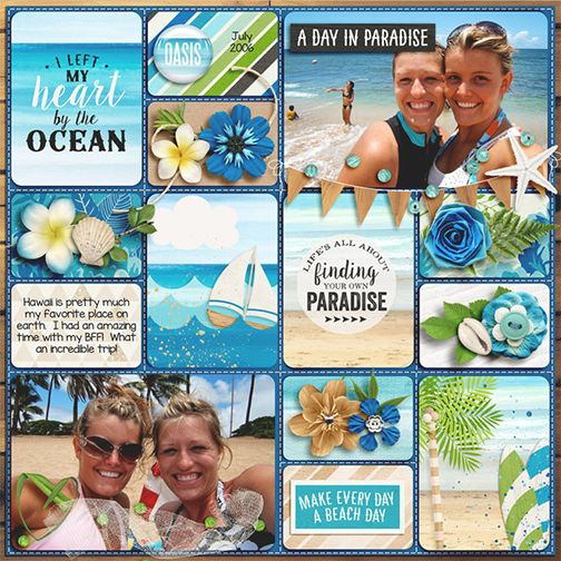 Cruise, beach, paradise, summer vacation scrapbook page