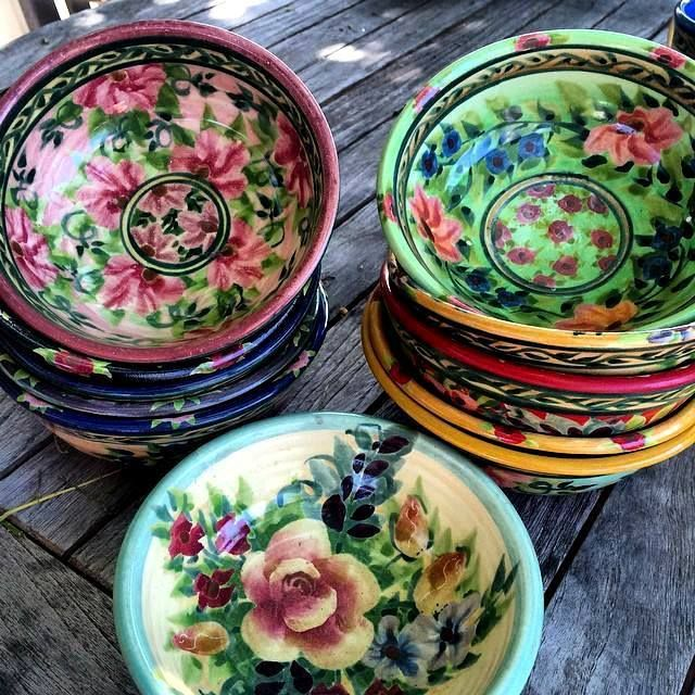 Beautiful hand painted tableware bowls in bright gypsy colours