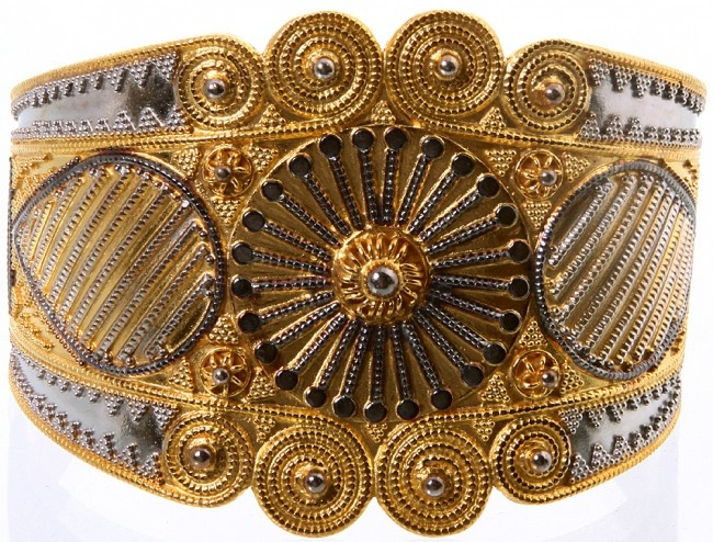 Sterling Silver and Gold Cuff Bracelet Exotic Jewelry from www.secretgardengems.net