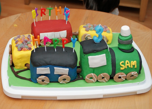 Sams Third Birthday Train Cake Third birthday Birthday cakes