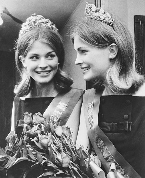 17-year-old Candice Bergen smiles at her reflection after being named Miss University of Pennsylvania ~ November 1963