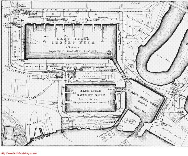 East India Docks | London Diary (Bradshaws Hand Book)