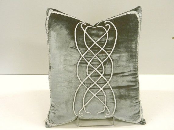 Lord of the Rings inspired pattern on Pillow, grey blue Velvet Arwens room hobbit middle earth decoration via Etsy