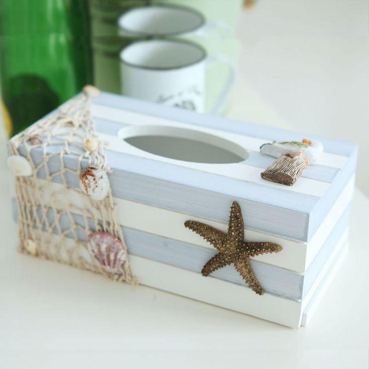 Отлично моллюски средиземноморские морские стиле деревянная коробка ручной ремесел украшения украшения дома