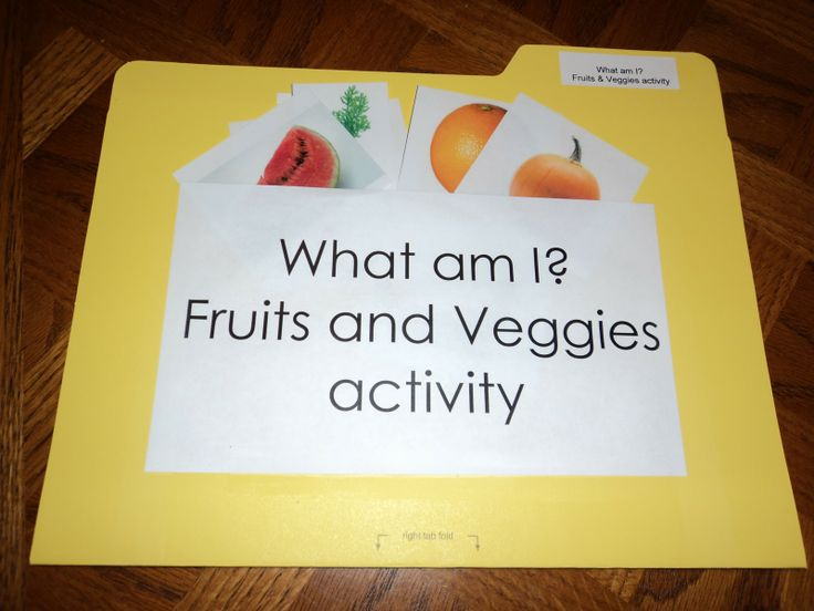 Early Learning with Marta and Eaton: Fruit or Veggie? More preschool file folder games
