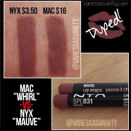 Dupe for Mac whirl lip liner using NYX cosmetics mauve                                                                                                                                                                                 Más