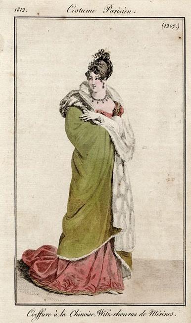 "Costume Parisien, 1812, Plate 1207 ""Coeffure à la Chinoise. Witz-chouras de Mérinos"""