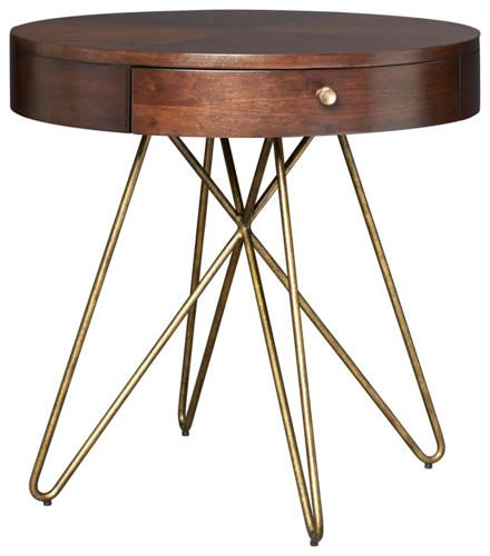 Silver Lake Round End Table   A Great Transitional Mid Century Modern  Occasional Collection That