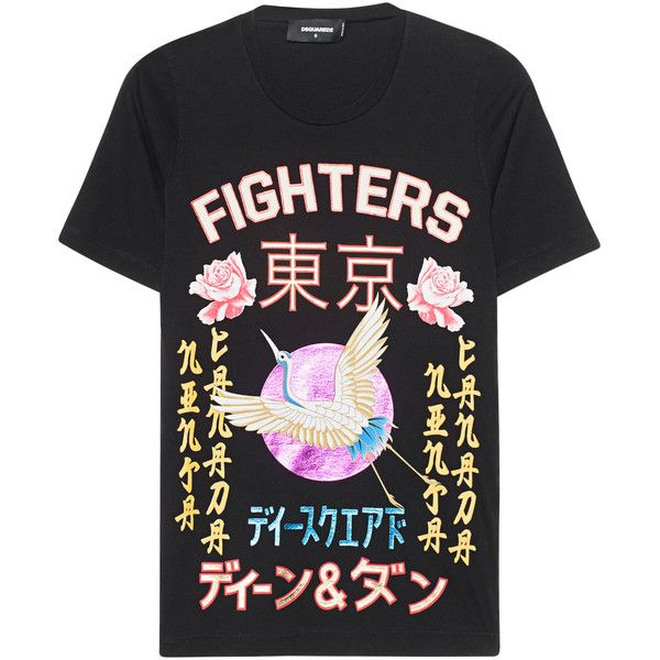 DSQUARED2 Japan Wording Black // Printed cotton T-shirt ($215) ❤ liked on Polyvore featuring tops, t-shirts, glitter t shirts, glitter top, cotton tee, dsquared2 t shirt and metallic tops