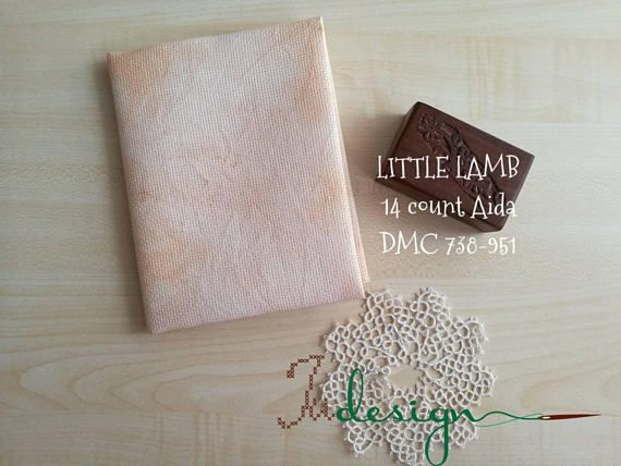 Check out this item in my Etsy shop https://www.etsy.com/listing/577663475/14-count-little-lamb-hand-dyed-aida-for
