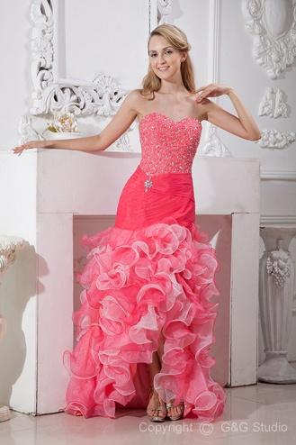 Ruffles/Beading/Sequins/Diamond Princess Sweep Sleeveless Organza Asymmetrical Modern Train Natural Pink Lace-up/Zipper Sweetheart Homecoming Dress      Oscar Dress