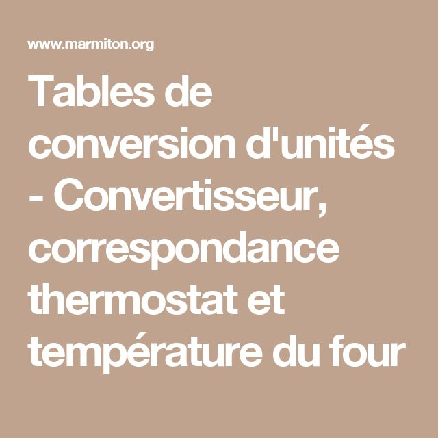 Tables de conversion d'unités - Convertisseur, correspondance thermostat et température du four