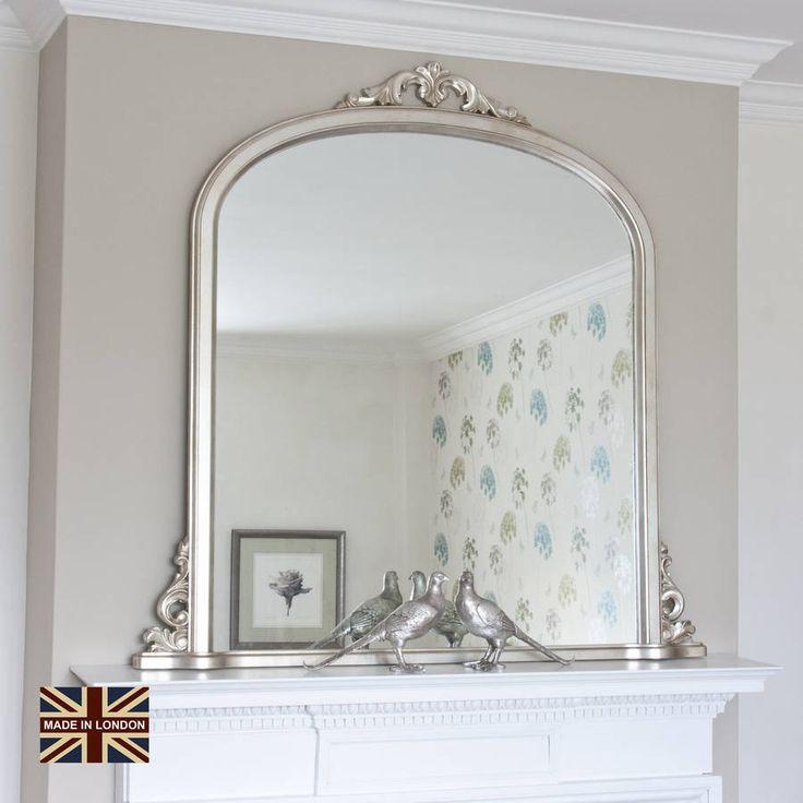 Victoria Antiqued Silver Overmantel Mirror