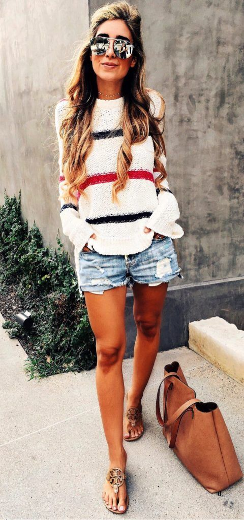 #Summer #Outfits / White Sweater + Denim Short Shorts