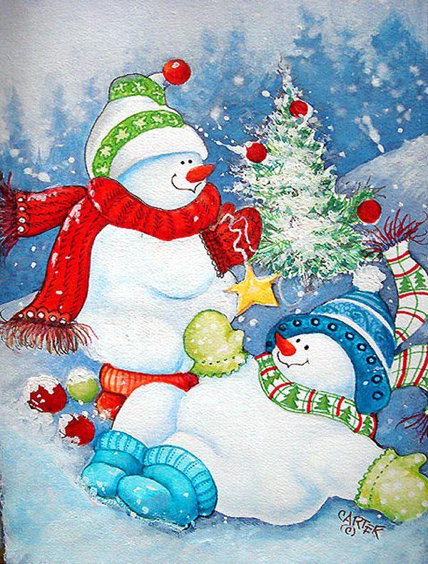 Картинки с дедом морозом и елочкой и снеговиком