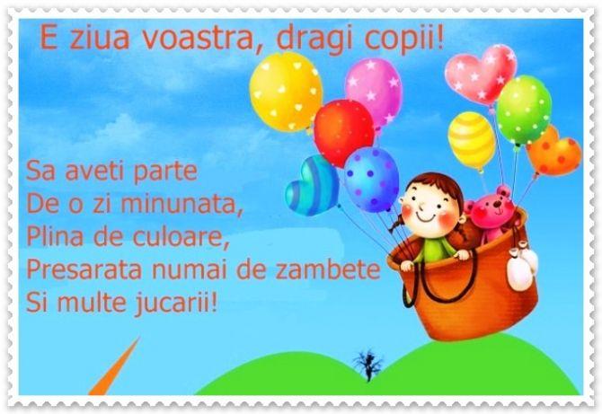 1 Iunie Ziua Copilului Felicitări și Mesaje De Ziua Math For Kids Kindergarden Color Activities