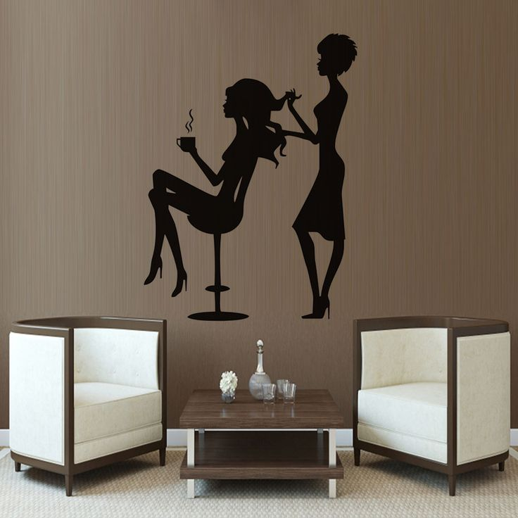The Lady Drink Coffee And The Stylist Dressing Her Hair Wall Decals Sticker For Barber Shop Creative Self Adhesive Wallpaper