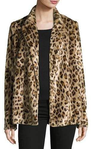 1426444034 Clairene Leopard Faux Fur Coat #faux#modacrylic#fur   Black Men's ...