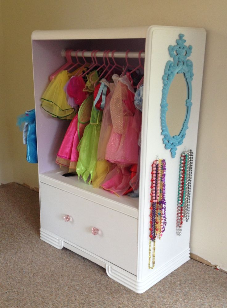 Old dresser turned into a dress up closet!