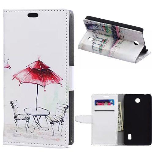Роскошный красный зонтик кожа кредитная карта бумажник флип-крышкой чехол для Huawei Ascend Y635 Y635-CL00 телефон сумки чехол бесплатная доставка