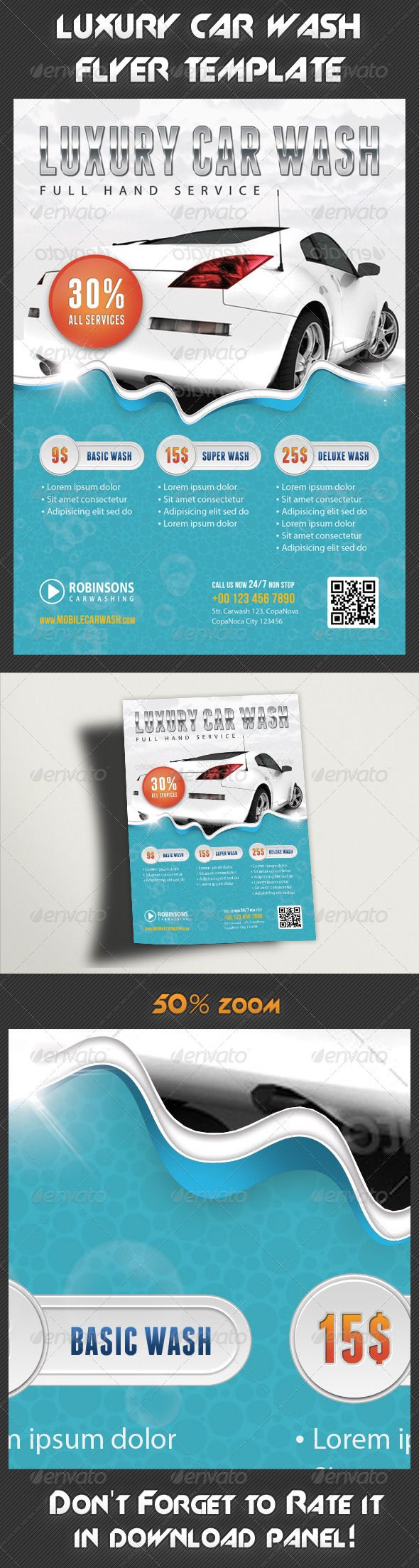 Car Wash Flyer — Photoshop PSD #car #promo