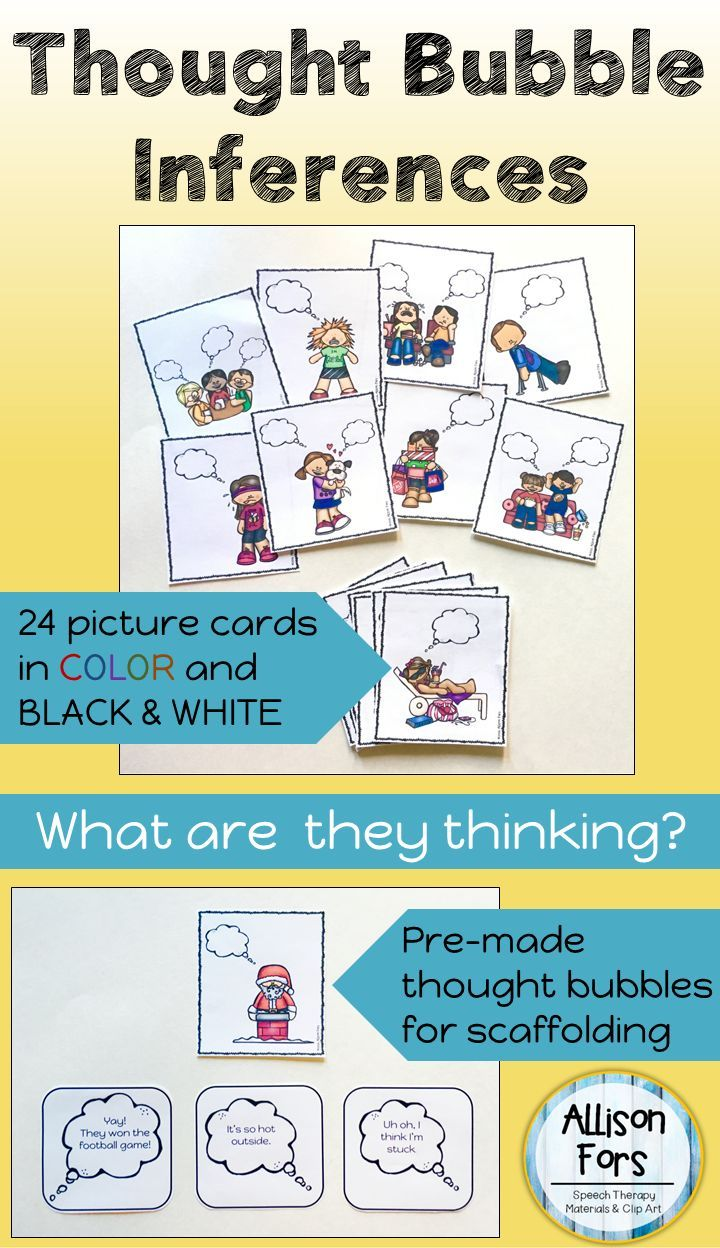 Thought bubble inferences picture cards
